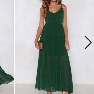 Nastygal Green Strappy Maxi Dress